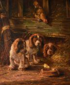 λ J. W. van Trirum (Dutch b. 1924)Puppies in a barn