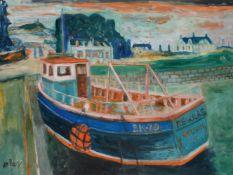 λ John Bellany (Scottish 1942-2013)Regulas Goldsie at harbour
