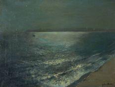 Julius Olsson (British 1864–1942), Moonlight, Godrevy Lighthouse