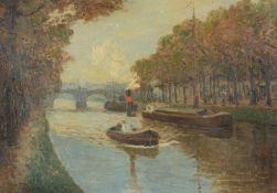 Paul Kutscha (Czech 1872-1935)Riverscape with paddle steamer