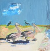 λ David Michie (Scottish 1928-2015)Pelicans and Cormorants
