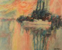 λ Alfred Cohen (British/American 1920-2001)Landscape with red sky