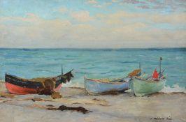 Joseph Milner Kite (British 1862-1946)Fishing boats on the shore