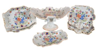 A Mason's Ironstone part dessert service, circa 1825, decorated in colours with a stylised