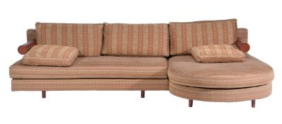Antonio Crittero for B&B Italia, a two piece Baisity L-sofa, fabric and leather upholstered, labels,