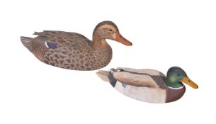 Alan Emmett (1938-2008); two late 20th century carved and painted wood models of mallard duck,