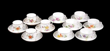 Assorted modern Nymphenburg coffee cups and saucers, four of one and six of the other, Wittelsbach