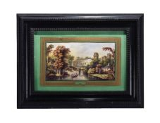An English porcelain green-ground and gilt rectangular tray mounted as a plaque and painted with a