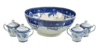 A Staffordshire pearlware blue and white punch bowl, circa 1790, the well printed with a pagoda,