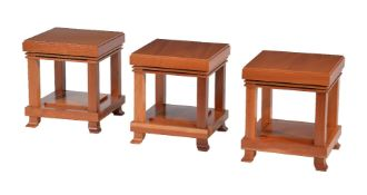 After Frank Lloyd Wright, three light wood occasional tables by Cassina, stamped marks, circa