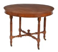 A pair of circular walnut occasional tables in Aesthetic taste, late 19th century and later, each