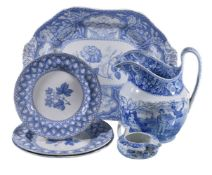A selection of mostly Spode blue and white printed pearlware, first half 19th century, comprising: a