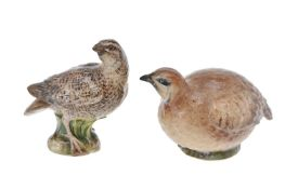 A Meissen model of a quail, late 19th century, blue crossed swords mark, 9.5 cm high; and another