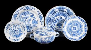 A selection of Dutch Delft, various dates 18th and 19th centuries, comprising: a porringer and cover
