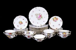 A modern Herend porcelain composite part dinner service, for the most part 'Fruit and Flowers'
