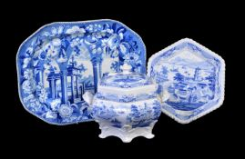 A John & William Ridgway hexagonal section blue and white printed 'Indian Temple' pattern Stone