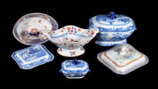 A selection of Turner's Patent stone china, early 19th century, including Imari and blue printed