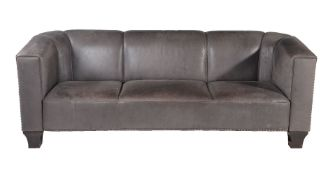 After Josef Hoffmann for Wittmann, Austria, a grey leather upholstered three seater sofa, circa