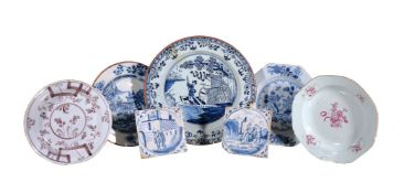 A selection of mostly English delft, third quarter 18th century, comprising: an octagonal plate