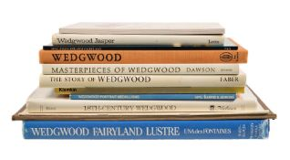 Selected reference books covering Wedgwood, including: Una des Fontaines, Wedgwood Fairyland