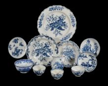 A selection of Worcester blue and white printed and painted porcelains, circa 1765-85; and a Chinese