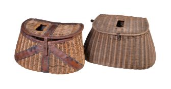 Two various French reed and leather-mounted fishing creels, various dates first half 20th century,