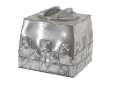 Archibald Knox for Liberty & Co., a Tudric pewter biscuit box and cover, circa 1905, of square