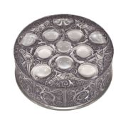 Lalique, Cristal Lalique, Roger, a black stained glass box and cover, engraved mark, 13.5cm diameter