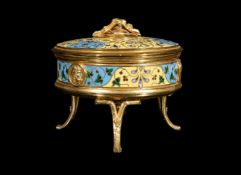 A gilt metal and champlevé enamel bonbonnière, modern, in the manner of examples by Ferdinand