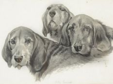 British School, early 20th century Otter hounds Black watercolour wash on paper 17cm x 23cm