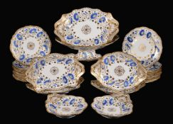 A Spode Felspar porcelain part dessert service, circa 1825-47, painted in blue, yellow and gilt with