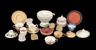 A mixed assortment of Wedgwood and other ceramics, mostly early 19th century, including