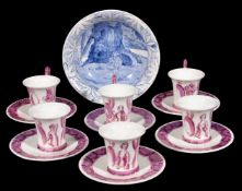 Thérèse Lessore, a set of six Wedgwood bone china coffee cans and saucers, painted in pink lustre
