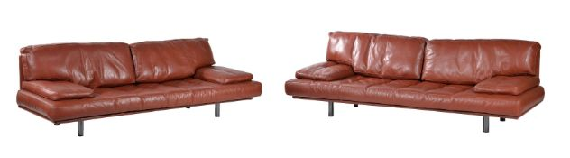De Pas, D'Urbino and Lomassi for Zanotta, two tan leather upholstered Milano sofas, designed 1982,