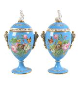 A pair of French porcelain turquois-ground ovoid pedestal pot-pourri vases and covers, third quarter