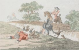 Manner of Thomas Rowlandson 'Hounds Throwing-Off.'; Hounds In Full-Cry.'; Coming-In At The Death.'