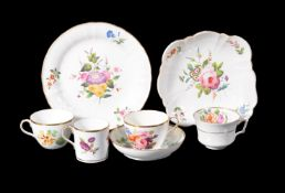 A selection of First Period Wedgwood bone china flower-painted tea and dessert wares, circa 1820,