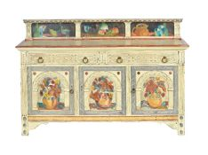 A painted oak side cabinet, in late 17th century style, circa 1920, with painted decoration in the