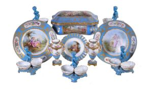 An assortment of Sevres-style porcelain, late 19th century, turquoise-ground and variously painted