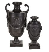 A rare S. Greenwood of Fenton black basalt classical urn, circa 1775, the shoulder with an oakleaf