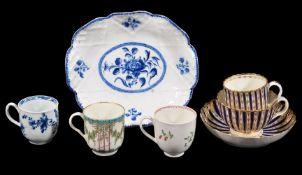 Four items of Worcester porcelain and a Bow porcelain dish, various dates 18th century,