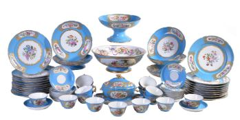 A Sevres-style turquoise-ground composite part dessert service, late 19th century, painted with