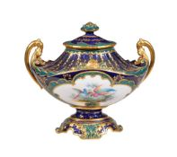 A Royal Crown Derby Sevres-style two-handled vase and cover painted by E. Clark, date code for 1898,