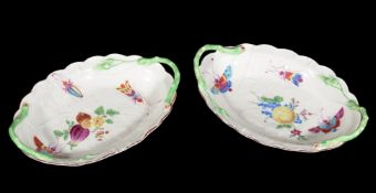 A pair of Worcester shaped oval two-handled 'Blind Earl' trays decorated in the workshop of James