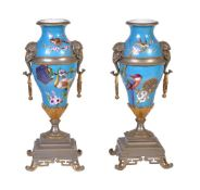 A pair of French pottery Japonesque cloisonné style gilt-metal-mounted two-handled vases, late