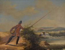 Follower of James Pollard (British 1792-1867) A man fishing before a waterfall Oil on board 20 x