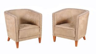 A pair of suede upholstered tub arm chairs in Art Deco style, 20th century, 69cm high, 64cm wide,