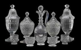 An assortment of cut glass, various dates mostly 19th and 20th centuries, including two pairs of