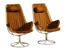 Bruno Mattsson for DUX, a pair of Jetson swivel chairs, designed 1969, leather, hessian and chrome
