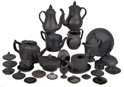 A selection of Staffordshire/South Yorkshire black basalt, various dates late 18th/early 19th